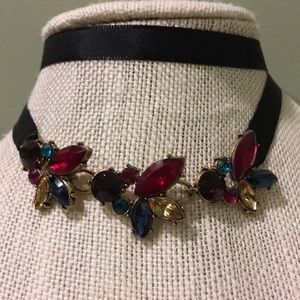 Ribbon tie jeweled choker, adjusts to desired size